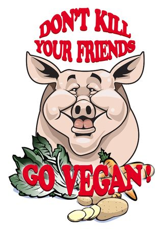 ethic: Dont kill your friends - Go vegan! Stock Photo