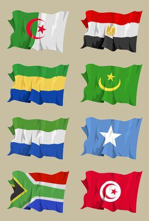 Computer generated illustration of eight African flags: Algeria, Egypt, Gabon, Mauritania, Sierra Leone, Somalia, South Africa, Tunisia illustration