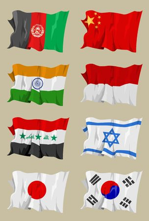 Computer generated illustration of the flag of eight Asian countries. Afghanistan China India Indonesia Iraq Israel Japan South-Korea Stock Illustration - 3299917