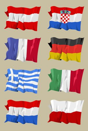 anthem: Computer generated illustration of the flag of eight European countries (I)