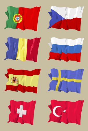 anthem: Computer generated illustration of the flag of eight European countries (II) Stock Photo