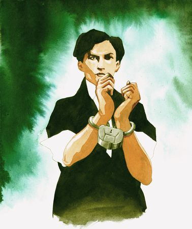 conjurer: Watercolor portrait of magician Harry Houdini Stock Photo