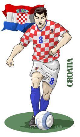 european championship: Illustration of a soccer player - Croatia - European championship 2008