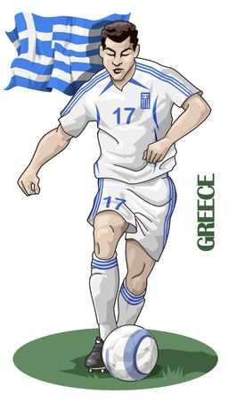 european championship: Illustration of a soccer player - Greece - European championship 2008