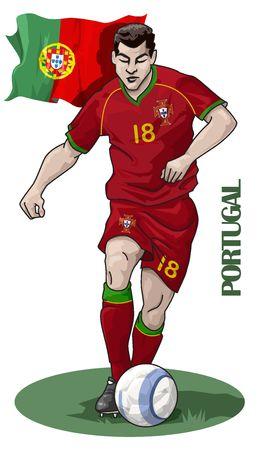 Ilustraci�n de un jugador de f�tbol - Portugal - campeonato europeo 2008  Foto de archivo - 3299932