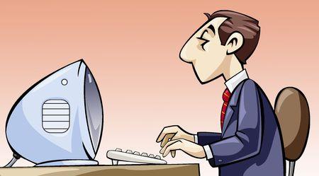 Illustratie van een werknemer werkt op zijn computer