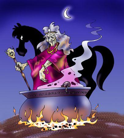The witchs horse - Cartoon style illustration illustration