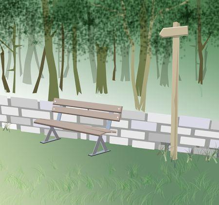 generated illustration of a park scene illustration