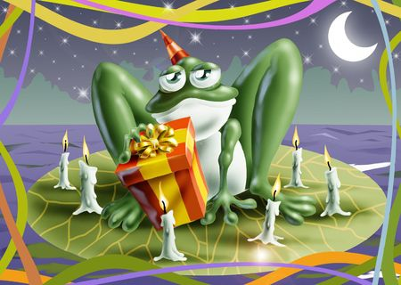 toad: Illustration of a cartoon-style smiling frog with a birthday gift