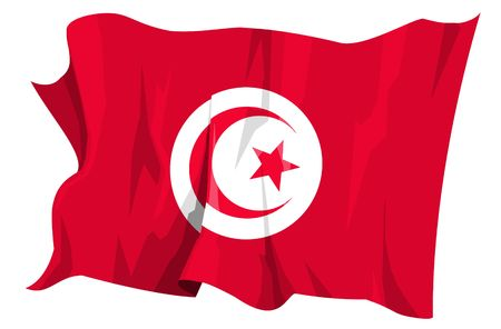 Computer generated illustration of the flag of Tunisia illustration