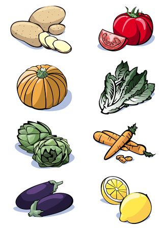 Kleurrijke illustratie van acht groenten: aardappelen - tomaten - pompoen - sla - artisjokken - wortelen - aubergines - citroenen