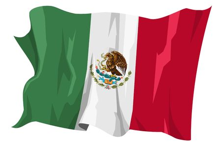 Computer generated illustration of the flag of Mexico illustration