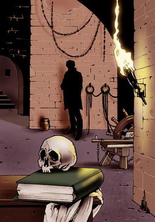 Artistieke illustratie van een oude donkere kamer met een schedel