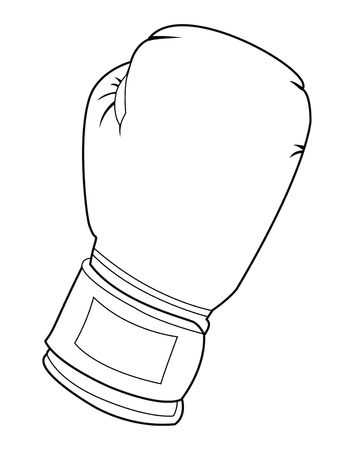 packer: Black and white illustration of a boxing glove Stock Photo