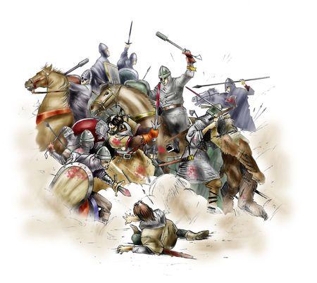 Scène van de slag bij Hastings van 1066 Stockfoto