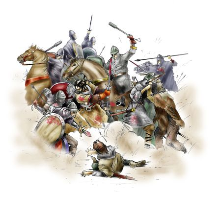 cavalry: Scene of the battle of Hastings of 1066