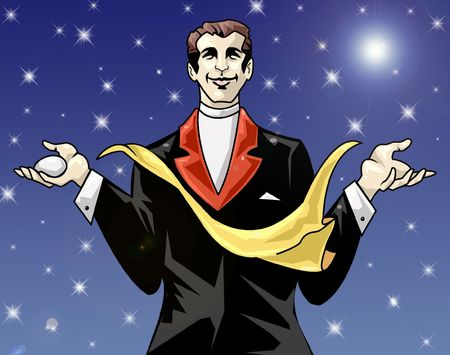 showman: Colorida ilustraci�n de un ilusionista la ejecuci�n de un truco Foto de archivo