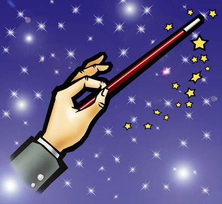 enchantment: Illustration of a magic wand with stars