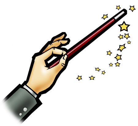 executing: Illustration of a magic wand - White backgroundColorful illustration of an illusionist executing a trick Stock Photo