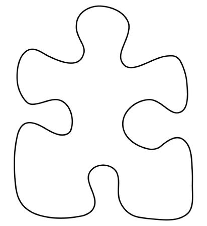 art piece: White puzzle piece isolated on white background Stock Photo