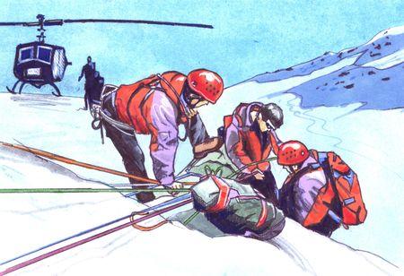 Waterverfillustratie op een reddingsscène in berg. Helikopter op achtergrond