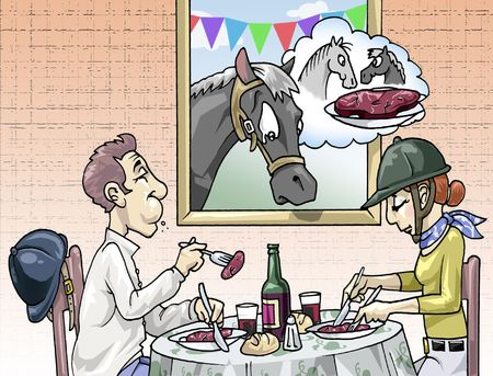 Illustration of a couple of horse-riders eating horse meat. A sad foal is looking at them, thinking of his mom, probably in those dishes now illustration