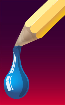 tempera: Vector illustration: a blue tempera drop falling from a pencil Illustration