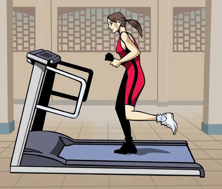 footing: Artistic illustration: young woman running on a treadmill Stock Photo