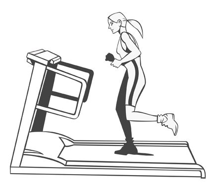 footing: Black and white illustration. A young blonde woman is running on a treadmill
