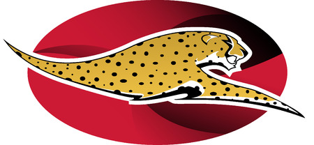 quickness: Digital illustration: wild cheetah on red background