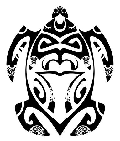 Maori tribal schildpad - Tattoo stijl Stockfoto - 3801983