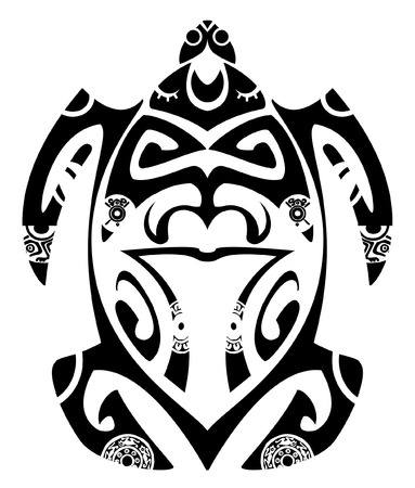 zealand: Maori tribal turtle - Tattoo style Illustration