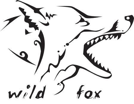 savagery: Black and white vector: wild fox head. Tribal tattoo style. Very easy to edit: all elements are separated