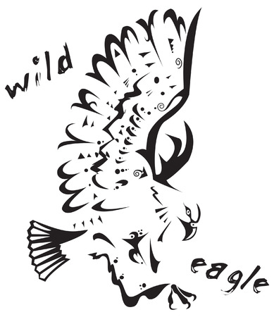 Black and white vector: wild eagle. Tribal tattoo style. Very easy to edit: all elements are separated Vettoriali