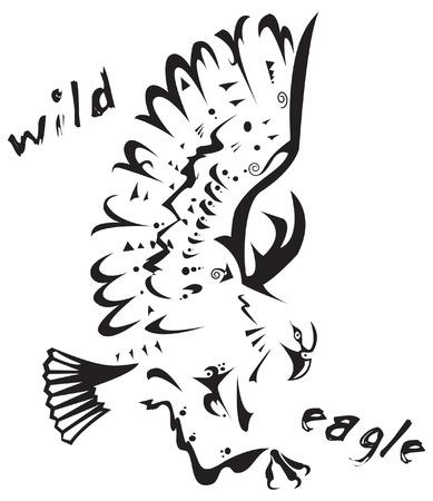 Zwart-wit vector: wilde adelaar. Tribal Tattoo stijl. Zeer gemakkelijk te bewerken: alle elementen zijn gescheiden Stock Illustratie