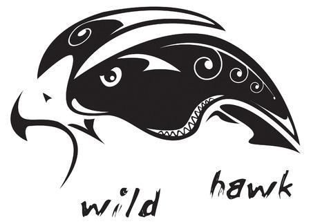 ファルコン: 黒と白のベクトル: ワイルド ホーク。部族の入れ墨のスタイルです。編集する非常に簡単: すべての要素は区切られます
