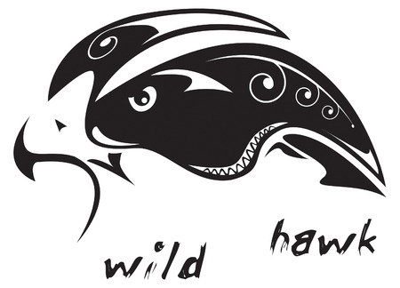 barbarian: Black and white vector: wild hawk. Tribal tattoo style. Very easy to edit: all elements are separated