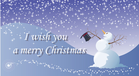 I wish you a merry Christmas - Vector illustration - Easy to edit - A funny snowman, under the snow, is happy for Christmas celebration  Vector