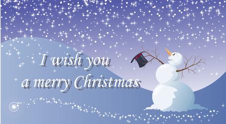 winter fun: Ik wens u een vrolijk kerstfeest - Vector illustration - Eenvoudig te bewerken - Een grappig sneeuwpop, onder de sneeuw, is blij voor Kerstmis' viering