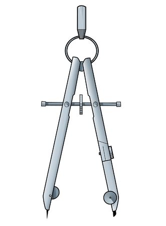 Illustration of a pair of compasses on a white background illustration