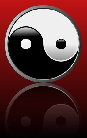 Vector illustration of the ancient symbol of Tao on Red background - Easy to edit illustration