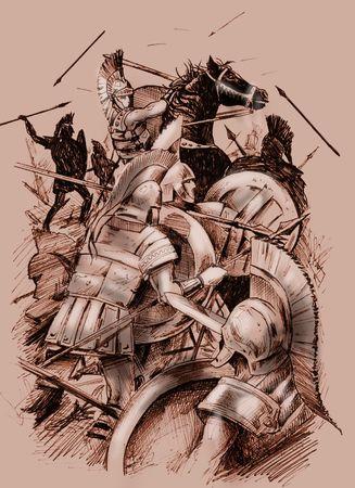 Hand getrokken illustratie van een oude strijd scène, met krijgers en cavalerie. Schets stijl Stockfoto