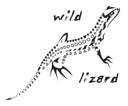Black and white vector: wild lizard Tribal tattoo style. Very easy to edit: all elements are separated