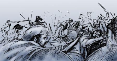Hand getrokken illustratie - Ancient scene strijd tussen islamitische en christelijke krijgers - Monochroom op grijs  blauwe achtergrond