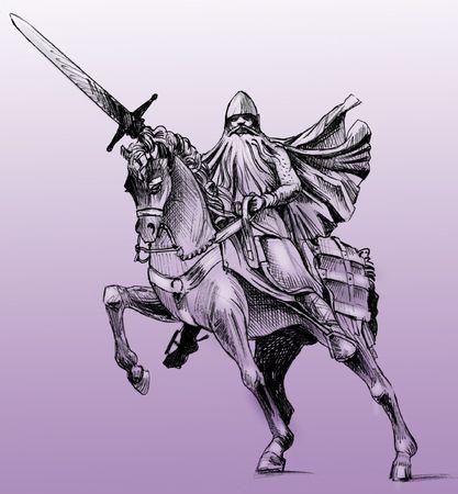 Hand getrokken tekening van het standbeeld van El Cid in Burgos, Spanje. El Cid is de Spaanse nationale held. Monochroom op paarse achtergrond Stockfoto