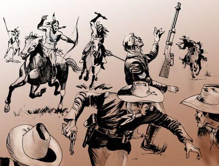 Hand getrokken illustratie - Far West slag scène samen met een groep van inheemse Amerikaanse strijders en Amerikaanse leger soldaten - Monochroom op bruine achtergrond