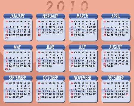 Calendar for the year 2010. Peach background. Each month on light blue background Vector