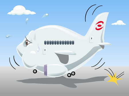 tired cartoon: Vector illustration of a tired bouncing airplane, representing economic crisis of many air transportation companies. Cartoon style