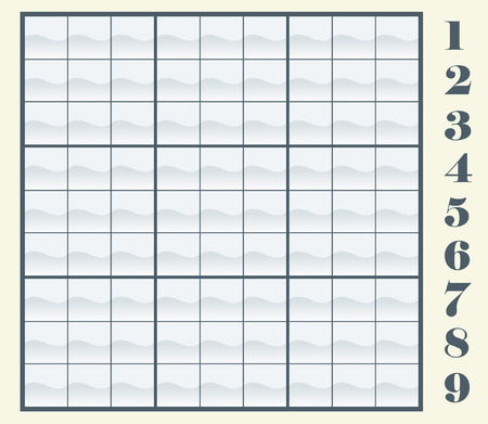 sudoku: Create your own sudoku scheme by copyingpasting the numbers, then place them in the frames. Vector illustration