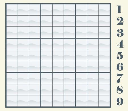Maak uw eigen Sudoku-regeling door het kopiëren  plakken van de nummers, dan plaatst u ze in de frames. Vector illustration Stock Illustratie